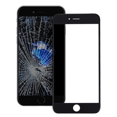 iPhone 7 Front Screen Outer Glass Lens with Front LCD Screen Bezel Frame(Black)