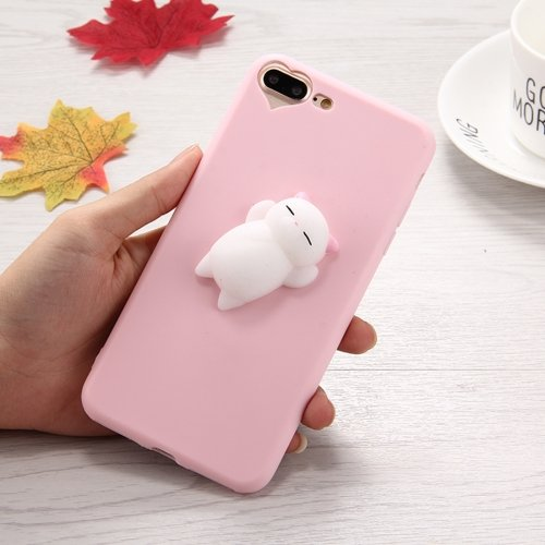 7 Plus 3D Little Bear Pink Ears Pattern Squeeze Relief Squishy Dropproof Protective Back Cover Case