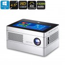 Windows 10 Mini Projector - DLP, 400 Lumen, Quad-Core CPU, 2GB RAM, 4.5-Inch