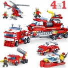 KAZI 4in1 FireTruck Helicopter Boat Building Blocks Compatible City Firefighter