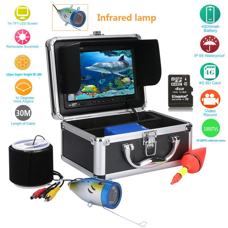 Underwater Fishing Camera - 7 Inch Monitor, 30m Cable, Hard Carrying Case