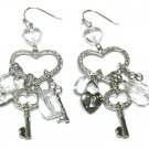 Juicy Couture Inspired Crystal Key Heart Lock Dangle Earrings