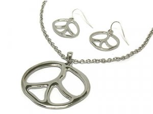 Metal Silver Peace Necklace and Earring set