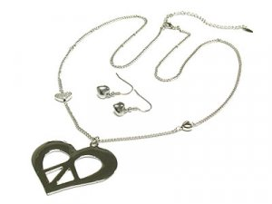 Heart Peace pendant long necklace and earring set