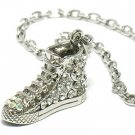 Basketball shoe sneaker crystal silver necklace pendant