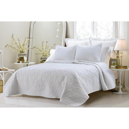 Cherry Hill Collection Oversized-3pc Quilted Coverlet Set- White Queen