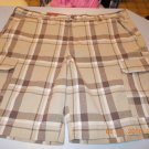 Men's Plaid Cargo Shorts, Size 44