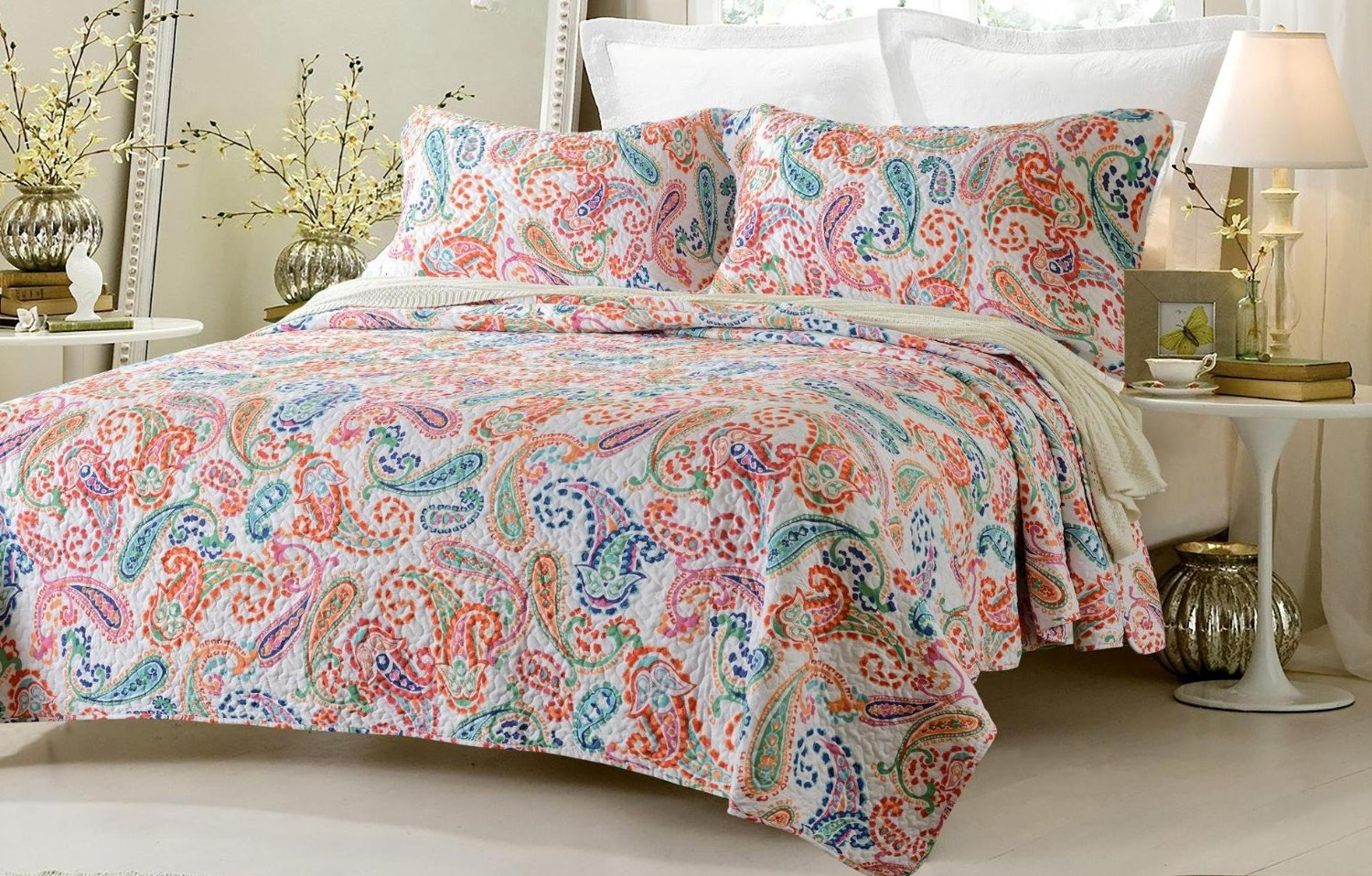 3pc Paisley Multi Color Printed Quilt Set Style # 1004 - Full/Queen