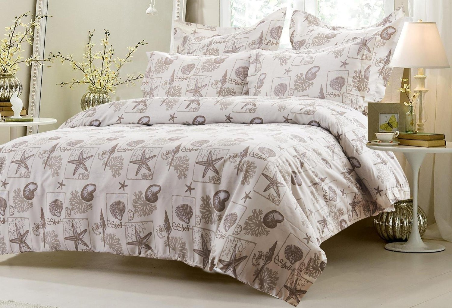 6pc Seashell Beige Bedding Set-Includes Comforter and Duvet Cover Set Full/Queen