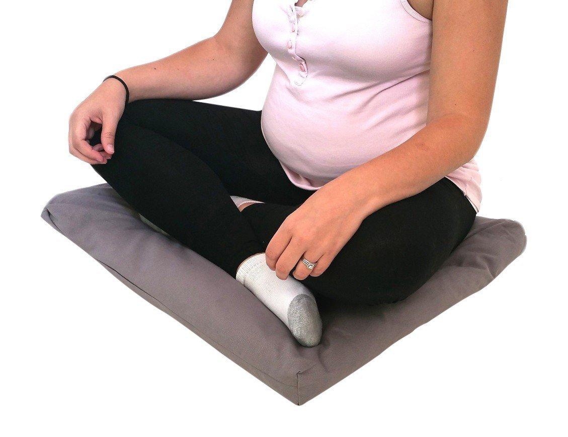 """Zabuton Yoga Meditation Cotton Cushions 24"""" x 24"""" x 2.5"""" Grey"""