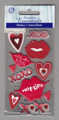 Sandylion Essentials Scrapbooking Stickers LIPS XOXO HEART valentine kiss hot lips 3D - EL07