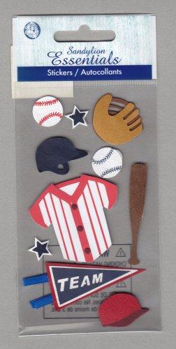 Sandylion Essentials Scrapbooking Stickers BASEBALL bat glove team winner sports 3D - EL21