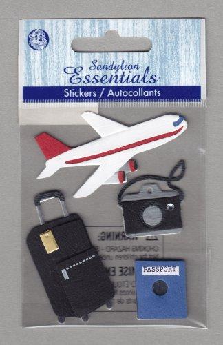 Sandylion Essentials Scrapbooking Stickers TRAVEL PLANE suitcase passport camera 3D - ES11
