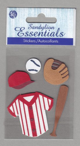 Sandylion Essentials Scrapbooking Stickers BASEBALL glove bat ball hat sports 3D - ES14