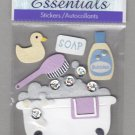 Sandylion Essentials Scrapbooking Stickers TUB TIME bathtub soap water rubby ducky 3D - ES15