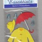 Sandylion Essentials Scrapbooking Sticker RAINY DAYS red umbrella yellow rain coat hat 3D - ES19