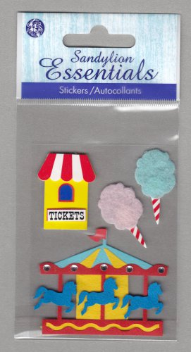 Sandylion Essentials Scrapbooking Sticker AMUSEMENT PARK carosel cotton candy fair 3D - ES20