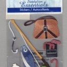 Sandylion Essentials Scrapbooking Stickers FISHING worms bobbin pole fish sports 3D - ES28