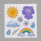 Sandylion Weather Rain Snow Clouds Rainbow Stickers Rare Vintage PM461