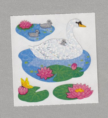 Sandylion Waterlillies and Swans Stickers Rare Vintage PM474