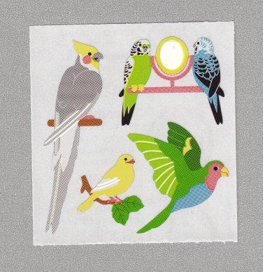 Sandylion Birds Parrot Budgie Stickers Rare Vintage PM557