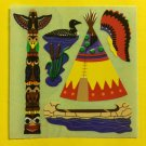 Sandylion Native Indians Totem Pole Tent Loon Canoe Head Dress Stickers Rare Vintage KK296