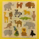 Sandylion Zoo Animals Elephant Zebra Giraffe Monkey Alligator Kangaroo Stickers Rare Vintage KK330