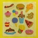 Sandylion Junk Food Pizza Ice Cream Cupcake Popcorn Sucker Hot Dog Stickers Rare Vintage KK331