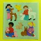 Sandylion Animal with Kids Deer Fawn Sheep Rabbit Bunny Pig Chicken Stickers Rare Vintage KK338