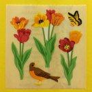 Sandylion Tulips Flowers Butterfly Bird Stickers Rare Vintage KK415