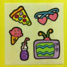 Sandylion Groovy Girl Hanging Out Tv television Pizza Ice cream Soda Stickers Rare Vintage KK445