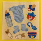 Sandylion Baby Boy Blue Bottle Booties Pacifier Onesee Sippy Cup Stickers Rare Vintage KK455