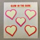 Sandylion Glow in the Dark HEARTS Stickers Retro Rare Vintage HG10