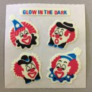 Sandylion Glow in the Dark CLOWNS Stickers Retro Rare Vintage HG18