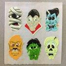 Sandylion Glow in the Dark MONSTER FACES Halloween Stickers Retro Rare Vintage HG21