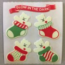 Sandylion Glow in the Dark BEAR IN STOCKING Christmas Stickers Retro Rare Vintage XHG21