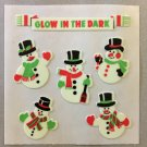 Sandylion Glow in the Dark SNOWMEN snowman Christmas Stickers Retro Rare Vintage XHG25
