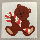 Sandylion Teddy Bear with Candy Cane Christmas Stickers Retro Rare Vintage XKK1a