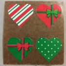 Sandylion Christmas Hearts Designer Presents Stickers Retro Rare Vintage XKK166