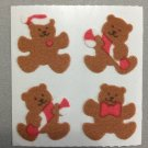 Sandylion Fuzzy Christmas Stickers Teddy Bear with Candy Canes and Bows Retro Rare Vintage XFM200