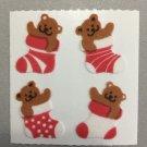 Sandylion Fuzzy Christmas Stickers Teddy Bear in Stocking Retro Rare Vintage XFM394
