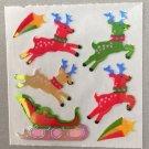 Sandylion Mother of Pearl Stickers MOP Christmas Reindeer Sleigh Retro Rare Vintage XMOP153