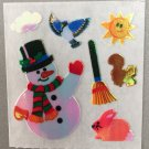 Sandylion Mother of Pearl Stickers MOP Christmas Snowman Rabbit Squirrel Retro Rare Vintage XMOP162