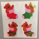 Sandylion Mother of Pearl MOP Christmas Teddy Bears in Stockings Retro Rare Vintage XMOP200