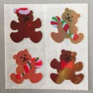 Sandylion Mother of Pearl Stickers MOP Christmas Teddy Bear with Heart Retro Rare Vintage XMOP235