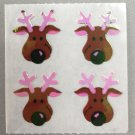 Sandylion Mother of Pearl Stickers MOP Christmas Reindeer Heads Retro Rare Vintage XMOP250