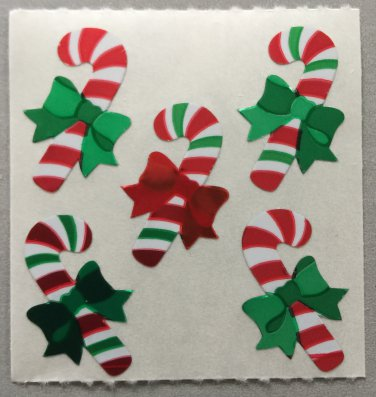 Sandylion Christmas Stickers Candy Canes with Bows Retro Rare Vintage XPM86
