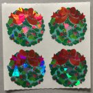Sandylion Christmas Stickers Wreath with Bow Mini Retro Rare Vintage XPM89