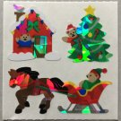 Sandylion Christmas Teddy Bear Horse Sleigh Tree Retro Rare Vintage XPM98