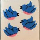 Sandylion Fuzzy Stickers BIRDS Blue & Pink Retro Rare Vintage FM010